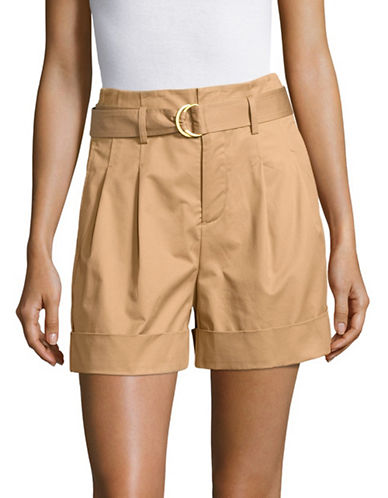Mo & Co Belted Twill Shorts-BEIGE-Small