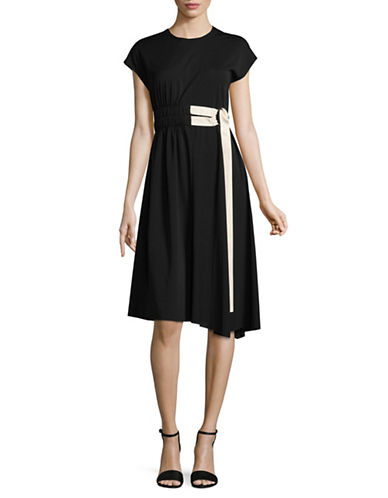 Mo&Co. Edition10 Ring Belt Shift Dress-BLACK-X-Small
