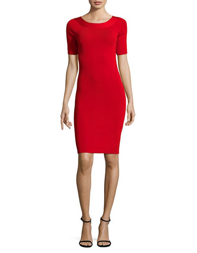 Mo&Co. Edition10 V-Back Bodycon Dress-RED-X-Large