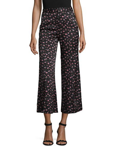 Mo&Co. Edition10 Silk Floral Print Trousers-BLACK-Medium