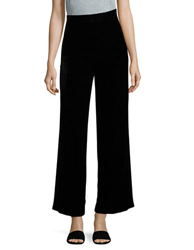 Mo&Co. Edition10 Velvet Wide-Leg Pants-BLACK-X-Small