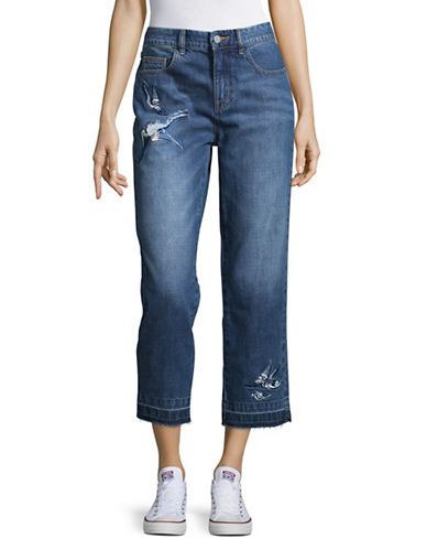 Mo&Co. Edition10 Embroidered Wide-Leg Jeans-BLUE DENIM-26