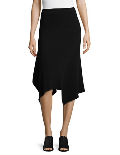 Mo&Co. Edition10 Asymmetrical Knit Skirt-BLACK-X-Large