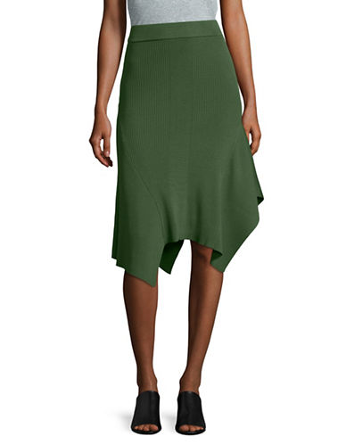 Mo&Co. Edition10 Asymmetrical Knit Skirt-GARDEN GREEN-Small