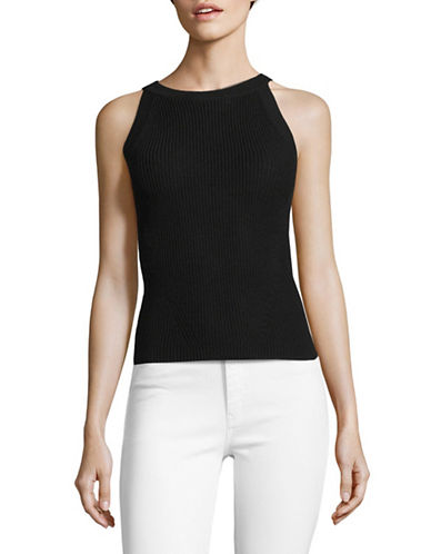 Mo&Co. Edition10 Cotton Knit Halter Top-BLACK-X-Small