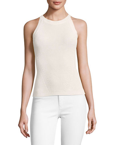 Mo&Co. Edition10 Cotton Knit Halter Top-SNOW WHITE-X-Small