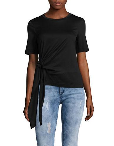 Mo&Co. Edition10 Tie Hem T-Shirt-BLACK-X-Large