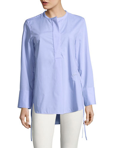 Mo&Co. Edition10 Round Neck Tunic Shirt-BLUE-X-Small