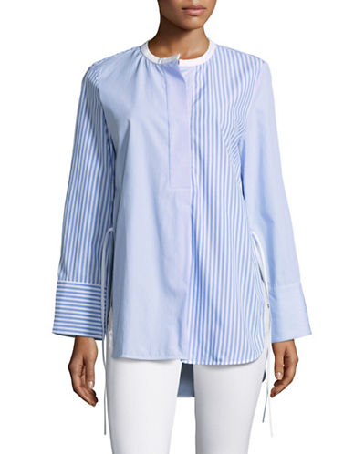 Mo&Co. Edition10 Round Neck Tunic Shirt-BLUE/WHITE-Large