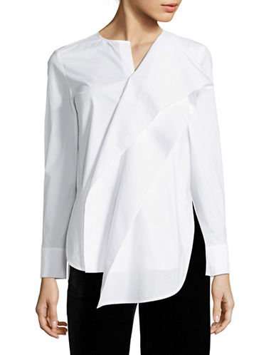 Mo&Co. Edition10 Ruffle Front Shirt-SNOW WHITE-X-Small