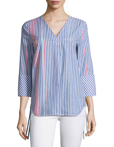Mo&Co. Edition10 Striped V-Neck Shirt with Tie Cuffs-BLUE MULTI-Medium
