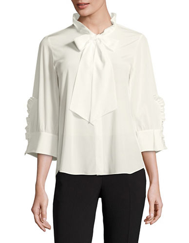 Mo&Co. Edition10 Ruffled Silk Blouse-SNOW WHITE-X-Large