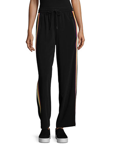 Mo & Co Side Stripe Jogging Pants with Wide Legs-BLACK-Small