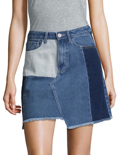 Mo & Co Denim Skirt-BLUE-Small