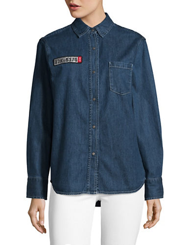 Mo & Co Long Sleeve Denim Button Up Shirt with Patches-BLUE-Medium