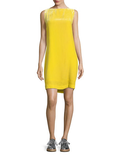 Mo & Co Sleeveless Draped Back Velour Shift Dress-YELLOW-Large