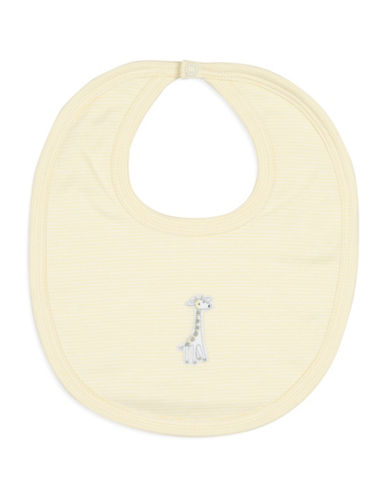 Kissy Kissy Giraffe Striped Cotton Bib-YELLOW-One Size