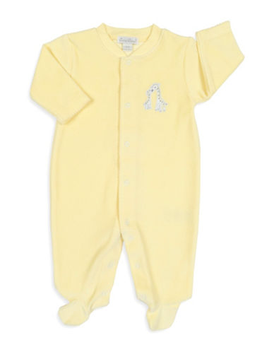 Kissy Kissy Giraffe Patch Velour Footies-YELLLOW-3-6 Months