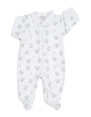 Kissy Kissy Foxy Graphic Cotton Footies-WHITE-0-3 Months