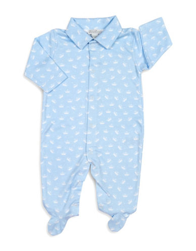 Kissy Kissy Royalty Graphic Cotton Footies-BLUE-3-6 Months
