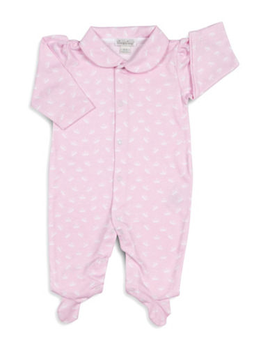 Kissy Kissy Royalty Graphic Cotton Footies-PINK-0-3 Months