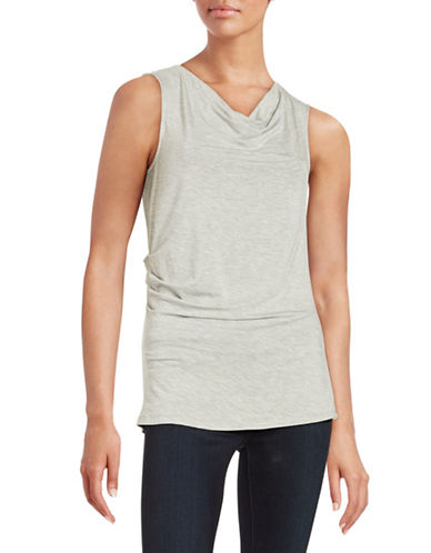Marc New York Draped Neck Ruched Top-GREY-X-Large