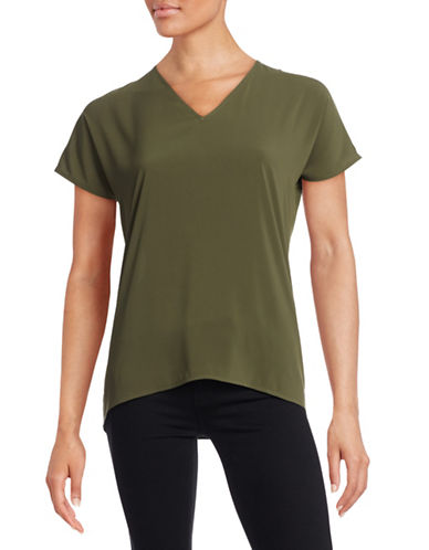 Marc New York Crepe Cap-Sleeve Top-GREEN-Medium