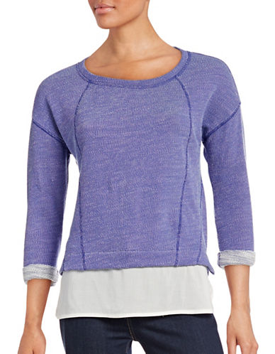 Marc New York Performance Scoop Neck Marl-Knit Top with Woven Hem-PURPLE-Large 88657694_PURPLE_Large