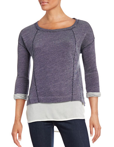 Marc New York Performance Scoop Neck Marl-Knit Top with Woven Hem-BLUE-Small 88657687_BLUE_Small