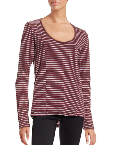 Marc New York Performance Washed-Stripe Panel Knit Top-RED-Medium 88657660_RED_Medium