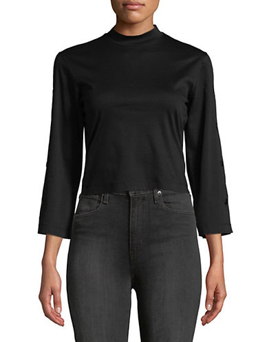 Mo&Co. Edition10 Back Tied Cotton Crop Top-BLACK-Large 89949500_BLACK_Large