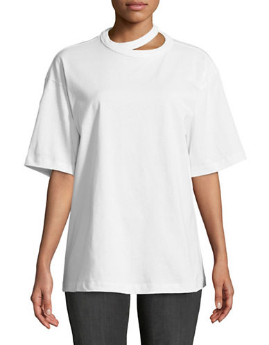 Mo&Co. Edition10 Cut-Out Neck Cotton Tee-CLOUD DANCE-Small