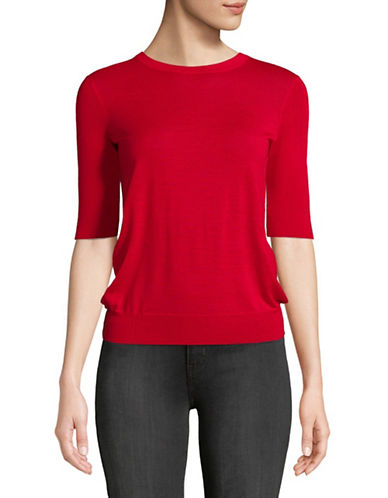 Mo&Co. Edition10 Circular Tied Back Wool Sweater-POMEGRANAT-Small