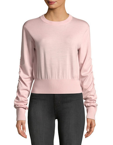 Mo&Co. Edition10 Cropped Wool Sweater-PEACHWHIP-Medium