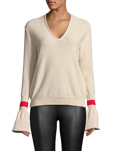 Mo&Co. Edition10 Textured Bell-Sleeve Sweater-GARDENIA-Small