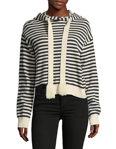 Mo&Co. Edition10 Striped Hooded Sweater-BLUE-X-Large