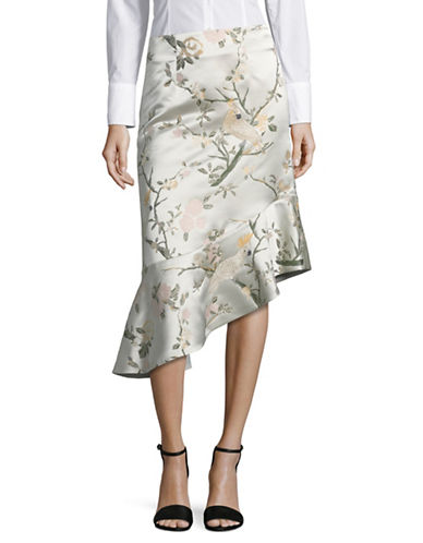 Mo&Co. Edition10 Floral Jacquard Skirt-ORANGE-Medium