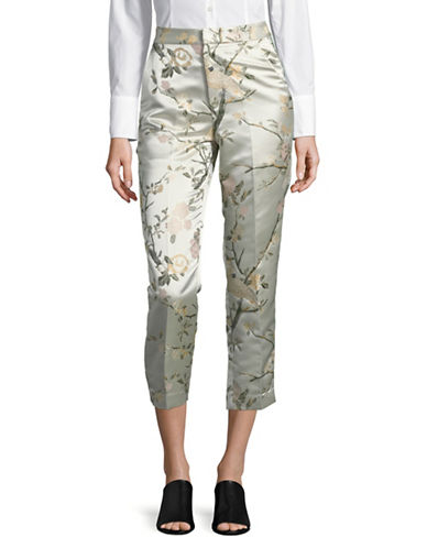 Mo&Co. Edition10 Floral Jacquard Pants-ORANGE-X-Small