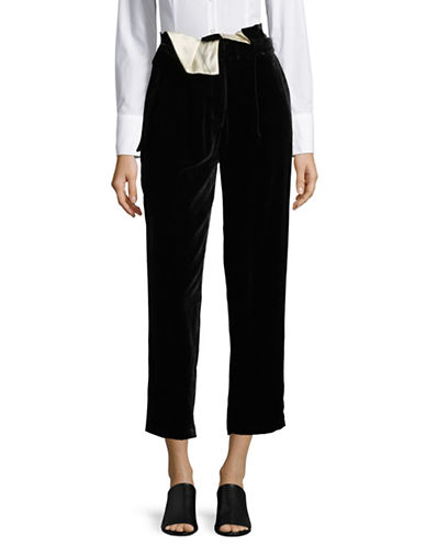 Mo&Co. Edition10 Velvet High-Waist Pants-BLACK-Large