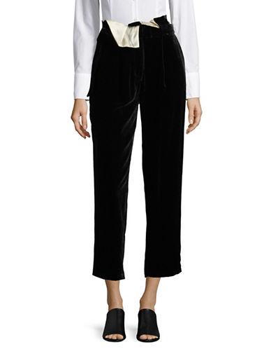 Mo&Co. Edition10 Velvet High-Waist Pants-BLACK-X-Large