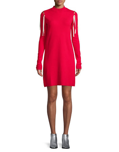 Mo&Co. Edition10 Lace-Up Shoulder Sweater Dress-RED-X-Small