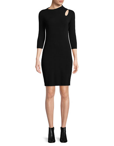 Mo&Co. Edition10 Keyhole Cut-Out Dress-BLACK-Small