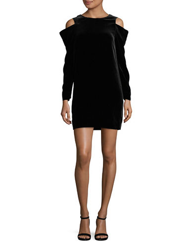Mo&Co. Edition10 Velvet Cold-Shoulder Dress-BLACK-Small