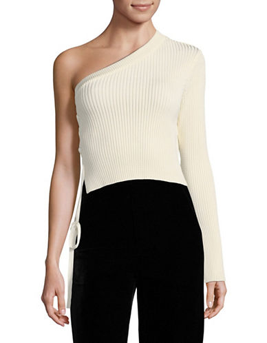 Mo & Co Ribbed One-Shoulder Sweater-WHITE-X-Small