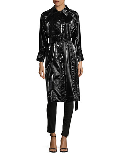 Mo & Co Patent Trench Coat-BLACK-X-Small