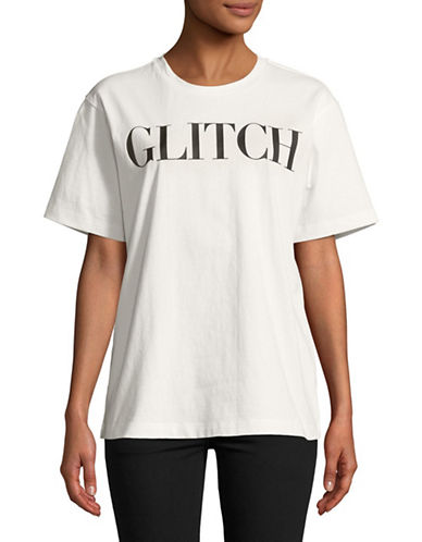 Mo & Co Glitch Cotton Tee-WHITE-Small
