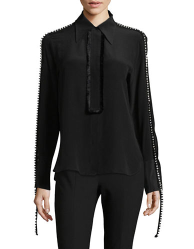 Mo & Co Embellished-Sleeve Fringe Silk Top-BLACK-X-Small