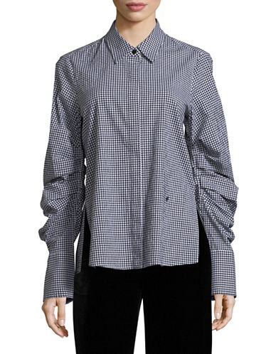 Mo & Co Plaid Flannel Button-Up Shirt-BLACK-X-Small