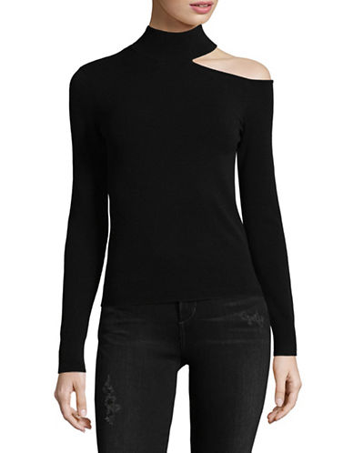 Mo & Co Ribbed Turtleneck Top-BLACK-Medium