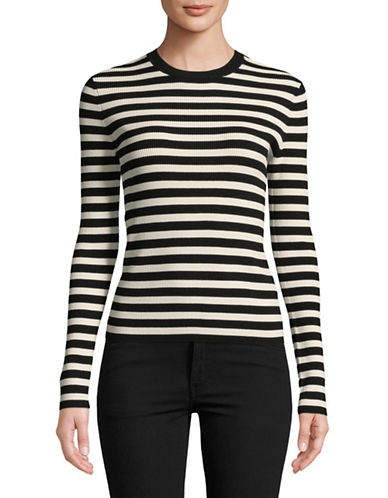 Mo & Co Striped Knit Top-BLACK-X-Large